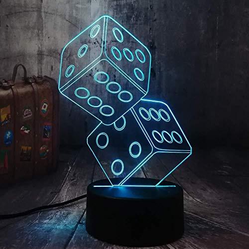 3D Illusion Night Light 7 colori Led Vision fun dadi poker carte da gioco gioco party table desk sleep decor giocattolo regalo di compleanno batteria comodino negozio colorato regalo creativo