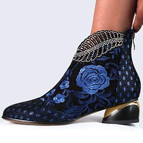 YUEBAOBEI Damen Vintage Bestickte Blockabsatz Stiefeletten Schnüren Stiefel Damen Stiefel Bestickt Chunqiu Damenstiefel Mit Absätzen,Blau,36