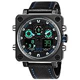 Menton Ezil Mens Tactical Watch Unique Sport Digital Analog 50M Waterproof Square Dial