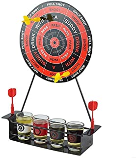 SODIAL Mini Drinking Game Dart Shot Party Games Roulette Bar Game with 4 Glass Cups and 1 Target Rack Novelty Gifts
