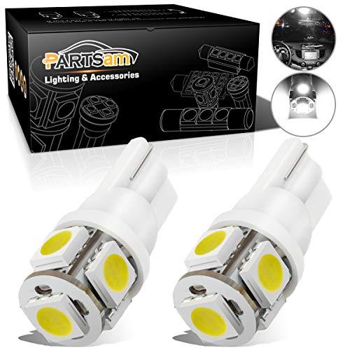 Partsam 2PCS White T10 168 194 2825 5-5050-SMD License Plate LED Lights Lamp Bulbs