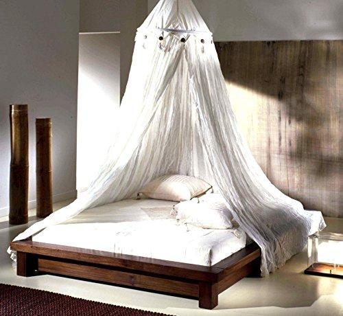 MaisonOutlet Letto Matrimoniale Tatami Stile Etnico Moderno in Legno massello di Teak, con zanzariera Misto Lino - Unico Zen