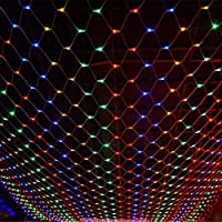 ネットフェアリーライト、ネットライト、LEDストリングライト、LEDフェアリーライト、クリスマスライト、クリスマスバースデーパーティーウェディングガーデンデコレーション用8モードストリングライト、テール付き、(カラー)
