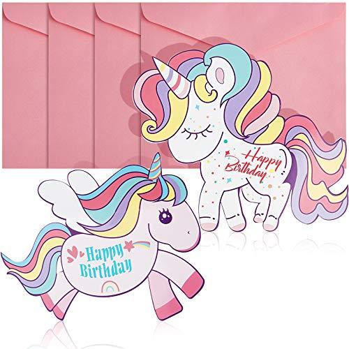 4 Piezas Tarjetas de Cumpleaños de Unicornio con Sobres Rosas, Tarjeta de Happy Birthday Tarjeta de Felicitación Linda de Cumpleaños de Unicornio para Niños Niñas Mujeres