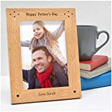 """Happy Fathers Day ENGRAVED Personalised Photo Frame Dad Daddy Grandad Gifts - 1st First Fathers Day Gifts Presents - Step Dad Gramps Grampa ANY RECIPIENT - 5"""" x 7"""" and 6"""" x 4"""" Engraved Photo Frames"""