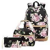 JANSBEN 3 Set Rucksack Damen Mädchen Teenager Schulranzen mit Lunchpaket Tasche und Mäppchen Freizeit Canvas Schultasche fur Schule Reisen