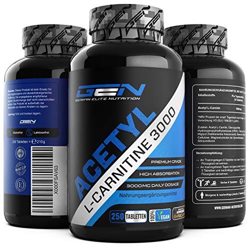 Acetyl L-Carnitin 3000-250 Tabletten - 3000 mg pro Tagesportion - Extra Stark - 100{b15693abf94931ce7d51b74b8370971e168273e3cc1c773480b8464e670dd67b} Acetyl L-Carnitine - Starke L-Carnitine Form - Laborgeprüfte Qualität - Vegan - German Elite Nutrition