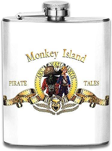 Monkey Island Metro Goldwyn Mayer Flachmann mit Löwendruck Pocket Bottle Flagon Tragbarer Flagon aus Edelstahl 7 Unzen