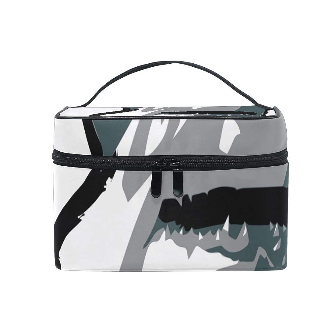 のみベース休暇メイクボックス 獣のサメ柄 化粧ポーチ 化粧品 化粧道具 小物入れ メイクブラシバッグ 大容量 旅行用 収納ケース