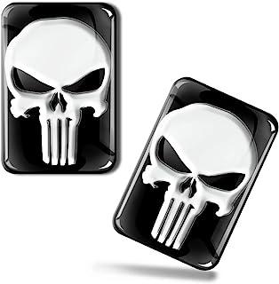 SkinoEu® 2 x Aufkleber 3D Gel Silikon Stickers Punisher Skull Schädel Totenkopf Auto Moto Motorrad Fahrrad Skate Fenster Tür PC Tablet Laptop Tuning KS 137