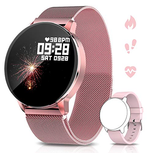 NAIXUES Smartwatch, Reloj Inteligente IP67 para Mujer Hombre, Reloj Deportivo con Pulsómetro, Cronómetro, Presión Arterial, Rechazo de Llamadas, Monitor de Sueño, Smartwatch Compatible con iOS Android
