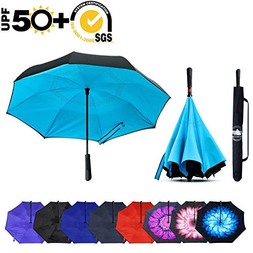ABCCANOPY Inverted Umbrella,Double Layer Reverse Windproof Teflon Repellent Umbrella for Car and Outdoor Use, UPF 50+ Big Stick Umbrella with ABS Handle and Carrying Bag