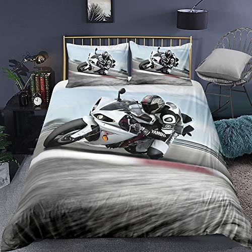 Juego De Funda Nórdica Suave, Antiácaros 80% Microfibra + 20% Algodón Juego De Cama Motos, Deportes Extremos (Motocicleta 07,(180x220 cm)-Cama de 105/135)