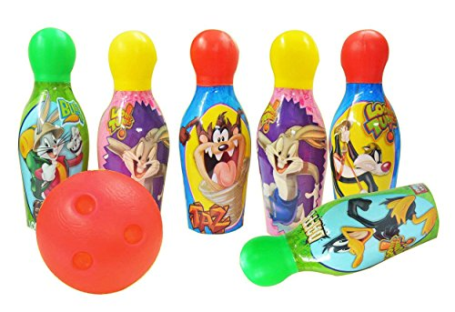 Zitto Looney Lunes Bowling Set Plastic 6 Pins 1 Balls Educational Mini Bowling Toy for Kids