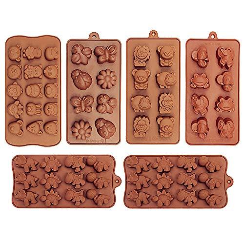Confezione da 6 stampi da forno in silicone, a forma di dinosauro, a forma di dinosauro, orso, leone, ape, farfalla, rana, volpe, ecc, per uso alimentare per torte, caramelle, cioccolatini, saponette