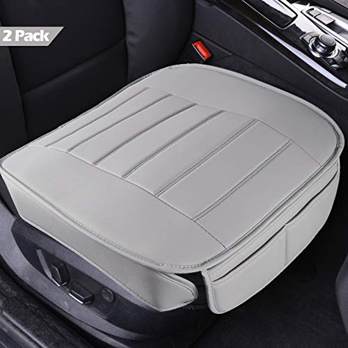 Car Seat Covers 2 Pack, Edge Wrapping Car Front Seat Covers Pad Mat for Auto Supplies Office Chair with PU Leather (Gray)