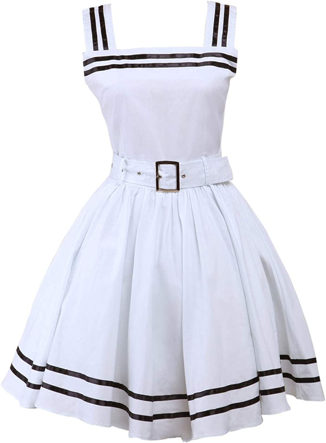 Antaina White Cotton Belt Halter Sweet Sexy Victorian Lolita Cosplay Tube Dress