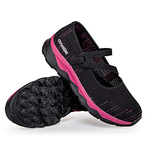 TOT Zapatos de tampón para Fascitis Plantar para Mujer Edema diabético de Widen Calzado con Masaje Absorción de Golpes Suela Antideslizante para Ancianos Embarazadas Artritis inflamada Pies,Rojo,41