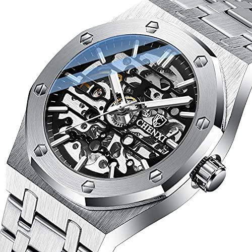 Herren Uhr Automatik Armbanduhr Herren Mechanische Uhren Automatik Uhr Skelettuhr Herren Metallarmband Leuchtender Edelstahl Uhr für Herren Sliver Black