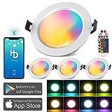 4 focos LED empotrables con Bluetooth, 15 W, 1200 lm, RGBW+CCT, 5 en 1, 230 V, regulable, de acero, para techo o salón