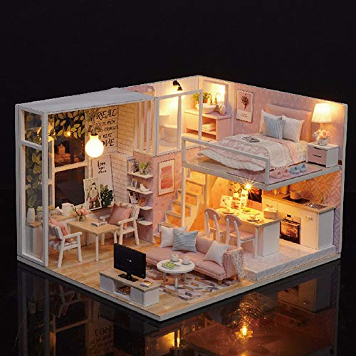 Casa de muñecas Kit de bricolaje en miniatura, de madera 1:24 Casa de muñecas en miniatura Muebles de luz LED Kit de casa de muñecas Casa de bricolaje Ensamblar cubierta transparente Casa de muñecas