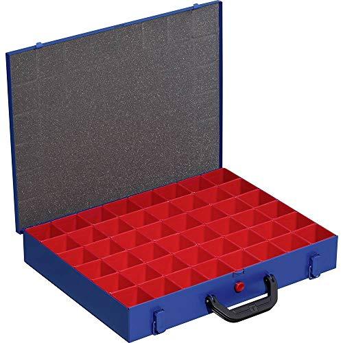 Allit, Cassetta per gli attrezzi, per minuteria, vuota, in metallo EuroPlus 44/48x63, blu, 48 inserti