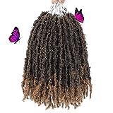 MIRRA'S MIRROR Butterfly Locs Crochet Hair 12 Inch 8 Packs Short Bob Butterfly Locs Distressed Faux Locs Natural Pre Looped Crochet Braids Hair Extension(1B/27)