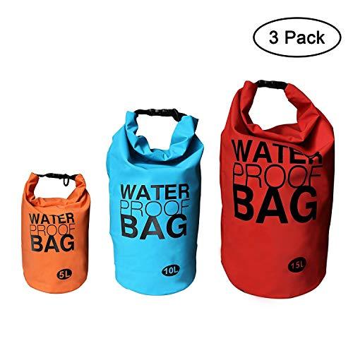 Kurtzy Bolsa Impermeable (3 Paquete) - 5L, 10L, 15L Ligero Espalda Impermeable Bolso con Ajustable Correa - Seco Bolso para Canotaje, Kayak, Rafting, Natación, Camping y Snowboard