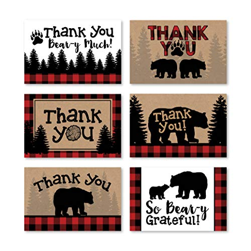 24 Bear Lumberjack Thank You Cards With Envelopes, Kids or Baby Shower Thank You Note, Rustic Zoo Animal 4x6 Varied Gratitude Card Pack For Party, Girl Boy Children Birthday, Modern Event Stationery