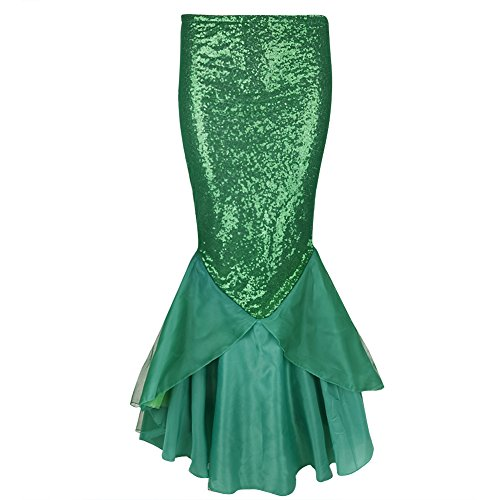 YiZYiF Women's Party Costume Sequins Mermaid Long Tail Skirt with Asymmetric Mesh Panel X-Large Green