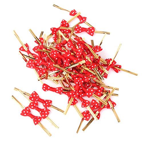 50pcs Attache Métallique Lien Torsadé pour Emballage de Sac de Bonbons Décoration de Biscuits (Rouge)