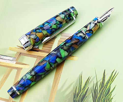 Newmoon Fountain Pen Fine Nib Iridescent Celluloid with Converter and Gift Box Set