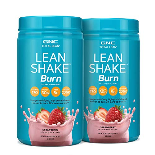 gnc protein shakes GNC Total Lean | Lean Shake Burn, Protein Powder | Hunger Satisfying, High Protein Blend, Proven to Burn 3X More Calories | Strawberry | 16 Servings