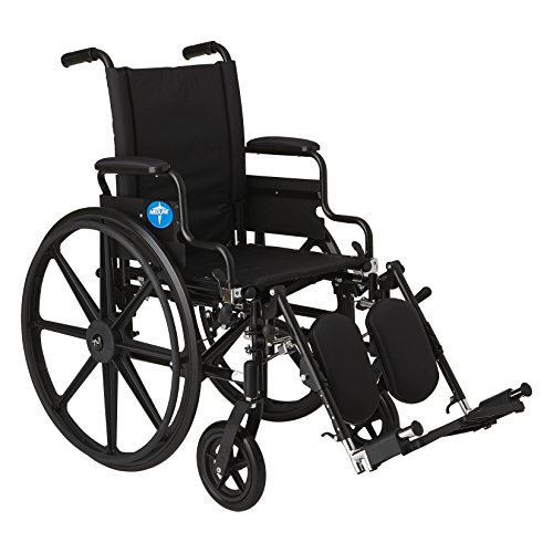 """Medline Premium Ultra-Lightweight Wheelchair with Flip-Back Desk Arms and Elevating Leg Rests for Extra Comfort, Black, 20"""" x 18' Seat"""