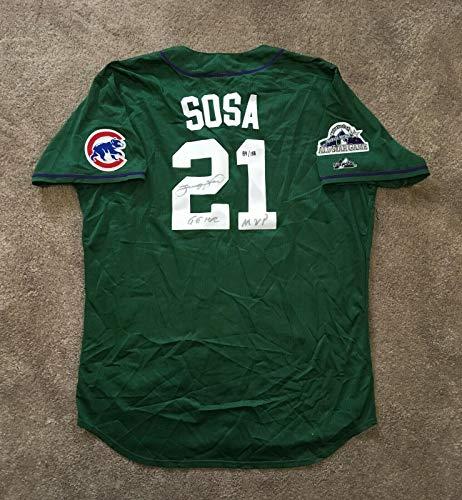 Sammy Sosa signed 1998 NL All Star Jersey INS 66 HR MVP Auto Tracercode COA /158 - Autographed MLB Jerseys