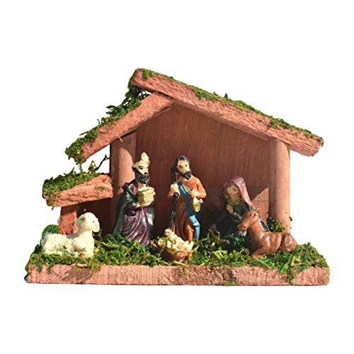 Runsmooth Nativity Christmas Decorations, Traditional Wooden House Resin Ornament, Includes Nativity Scene and Figurines, Small,16x7.5x11 cm