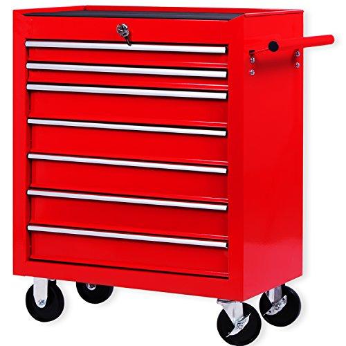 Masko® Werkstattwagen - 7 Schubladen, rot ✓ Abschließbar ✓ Massives Metall | Mobiler Werkzeug-Wagen ohne Werkzeug | Profi Werkstatt-Wagen | Rollwagen zur Werkzeugaufbewahrung mit Schloss |