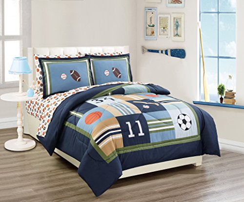 Fancy Linen 7 Pc Full Size Sport Kids Teens Baseball Basketball Football Soccer White Black Orange Brown Navy Blue Green Light Blue Comforter and Sheet Set New # Sport Navy