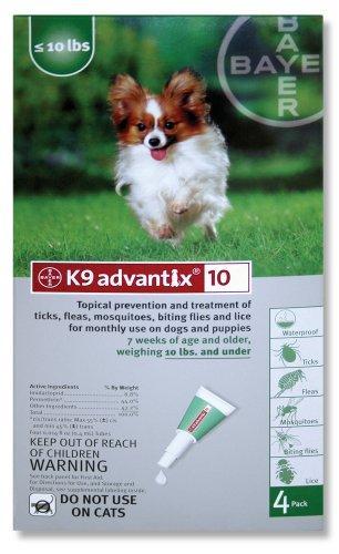 K9 Advantix Flea Control for Dogs up to 10 Pounds (4 Applications)