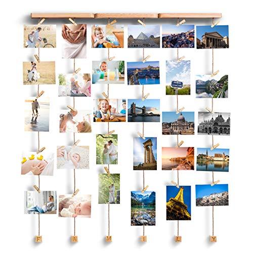 Love-KANKEI Family Bilderrahmen Collage Fotorahmen Holzbilderrahmen mit 30 Kleinen Holzklammer