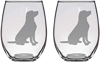 Set of 2 stemless wineglasses with labrador retrievers, great gift for wine, dog lovers, novelty glass, funny wine glass