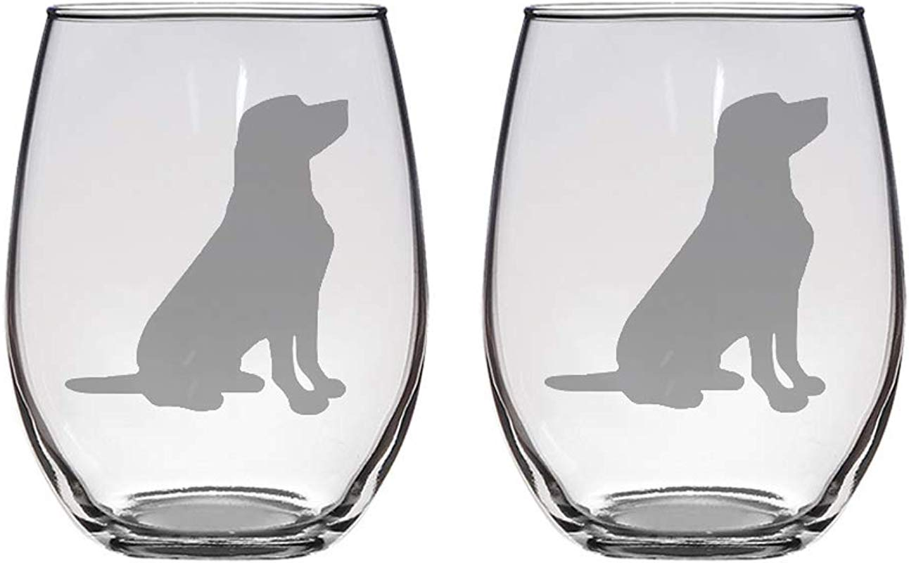 Set Of 2 Stemless Wineglasses With Labrador Retrievers Great Gift For Wine Dog Lovers Novelty Glass Funny Wine Glass