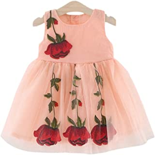Hopscotch Girls Cotton Peach Sleeveless Floral Dress in Pink Color