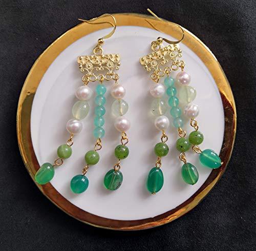 Roman Romance Serie de civilizaciones antiguas de 2020 Perla de agua dulce barroca hecha a mano y amazonita y jade canadiense y ágata verde y pendiente de borla prehnita