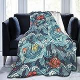 Funny Z Koi Carps Fish Dragon Lotus PNG Throw Blanket Manta de Franela Ultra Suave Sofá de Cama Ligero Lujoso Invierno para Mujeres Hombres Niños , 80x60 Pulgadas