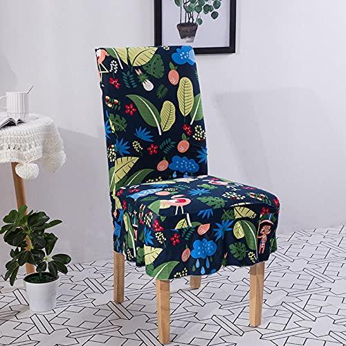Universal stretch stolsskydd blå tropisk regnskogsdrock avtagbart stolskydd modernt skydd skydd säte stol matsal skydd för hotell bankett bröllop bukett 6/set