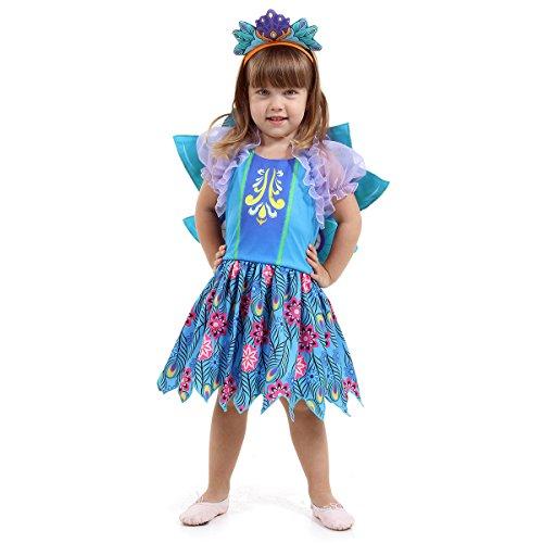 Enchantimals Pavão Infantil Sulamericana Fantasias Azul/Lilás M 6 Anos