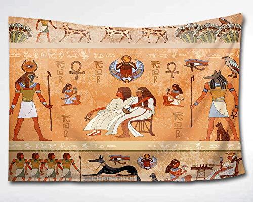 KISY Ägyptischer Wandteppich Wandbehang,antikes afrikanisches Ägyptisches König und Königin Anubis Tapisserie Pharao Mummy Collage Schlafsaal Strand Wanddeko,152,4 x 228,6 cm,Retro-Orange,60x40(in)