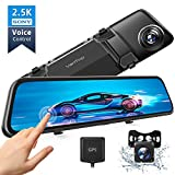 VanTop H612 12' 2.5K Mirror Dash Cam for Cars w/Voice Control, GPS Tracking, IPS Full Touch Screen, Waterproof Backup Rear View Camera, Loop Recording, Night Vision, Parking Monitor