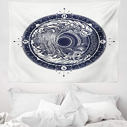 ABAKUHAUS Kompass Wandteppich und Tagesdecke, See-Navigation große Welle, aus Weiches Mikrofaser Stoff Schmutz abweichender Digitaldruck, 150 x 110 cm, Nachtblau Weiß